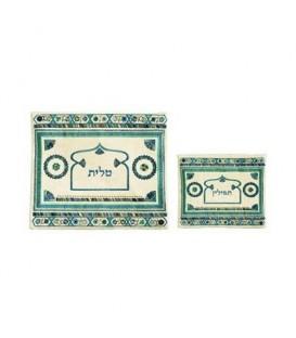Tfilin Bag - Embroidery - Linen - Blue