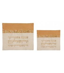 """Tallit Bag - 2 Materials + Embroidery - """"Im Eshkechech"""" Linen - Gold"""