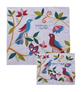 Afikoman Cover - Raw Silk Applique`d - Birds Blue